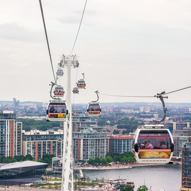 The Emirates Air Line & London ifrån luften